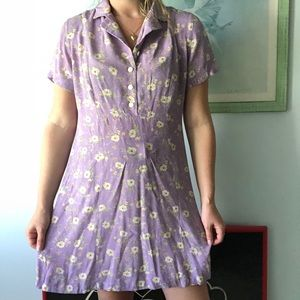VINTAGE Lilac Floral Button Dress Gap Size M